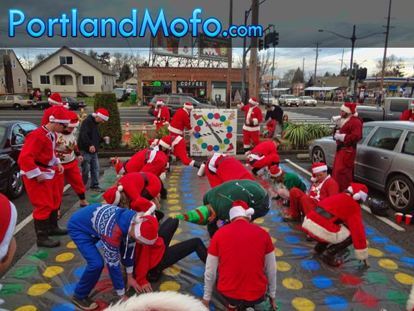 playing twister at santa con